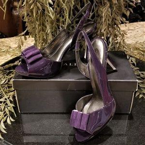 TALBOTS Vanesa Midnight Purple Suede Patent Heels
